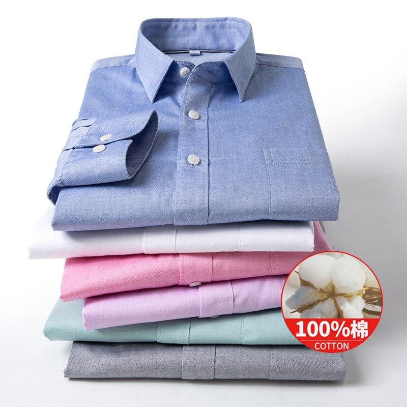 2020 hombres otoño nueva camisa de camuflaje de algodón puro para jóvenes Camisa de algodón de color puro manga larga cultivar la moralidad