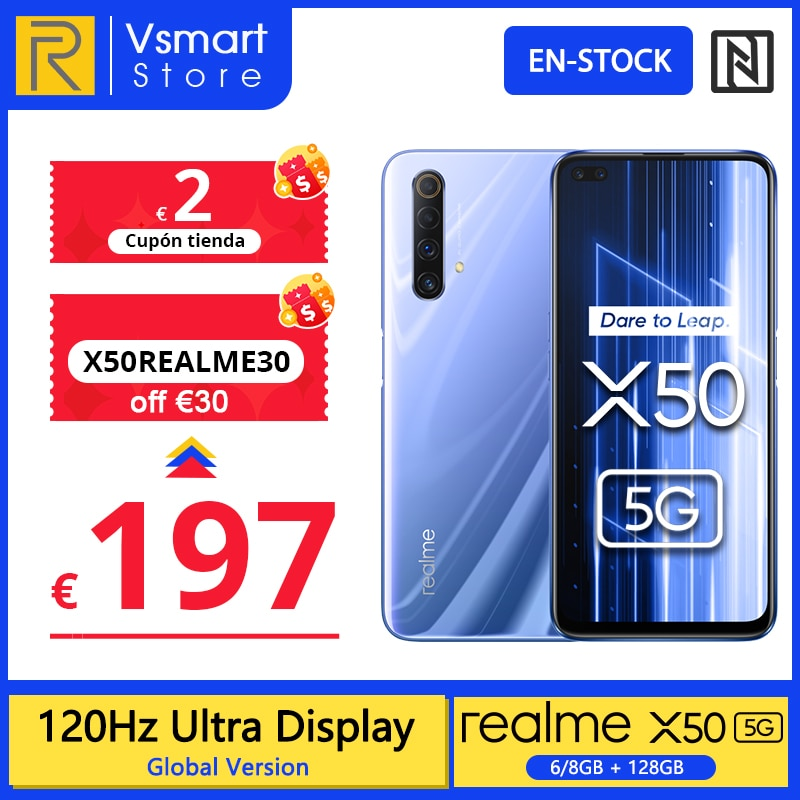 Global Version realme X50 X 50 5G 6GB 128GB 6.57'' Smartphone Snapdragon 765G 120Hz Ultra Display 48MP Quad Cams Cellphone 30W