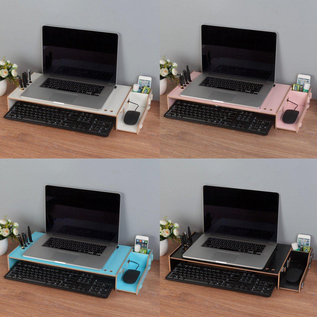 Soporte para TV portátil, soporte de madera para Monitor de escritorio, soporte de escritorio para pantalla elevadora, soporte de escritorio para portátil