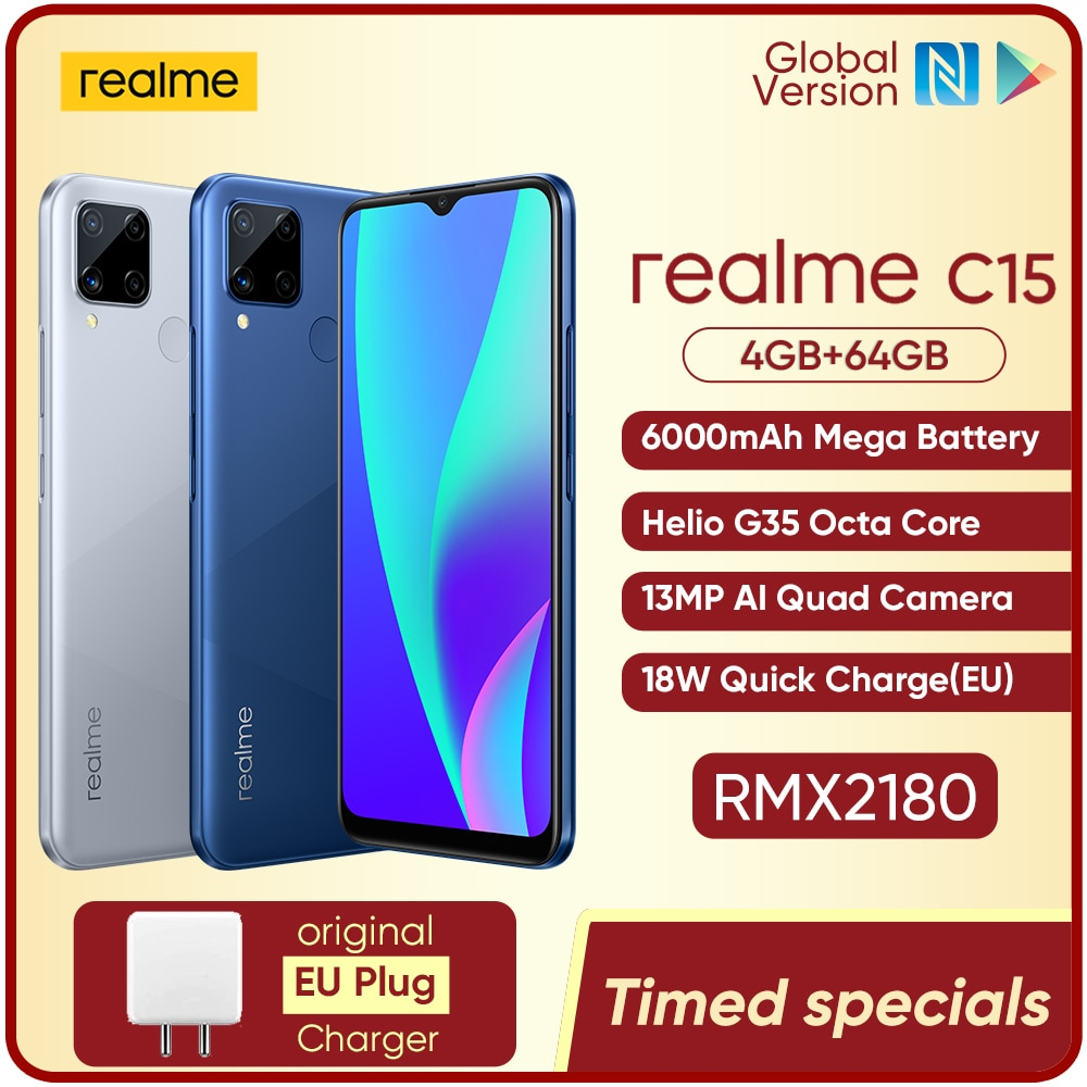 realme C15 Global Version Smartphone 4GB RAM 64GB ROM 6000mAh Big Battery Quick Charge Mobile phone 6.5inch Android Telephone