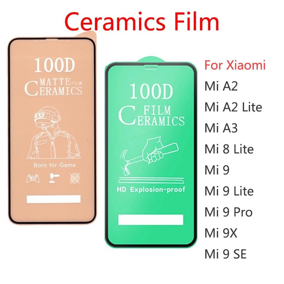 50Pcs\Lot 100D Full Cover Soft Ceramic Tempered Glass For Xiaomi Mi 8 9 A2 A3 Lite Screen Protector Film For Mi 9X 9 Pro SE