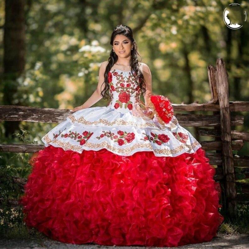16 ans de Quinceanera Robes Fleur Appliques Perlée robe 15 anos Formelle Mexicain robes de Quinceanera
