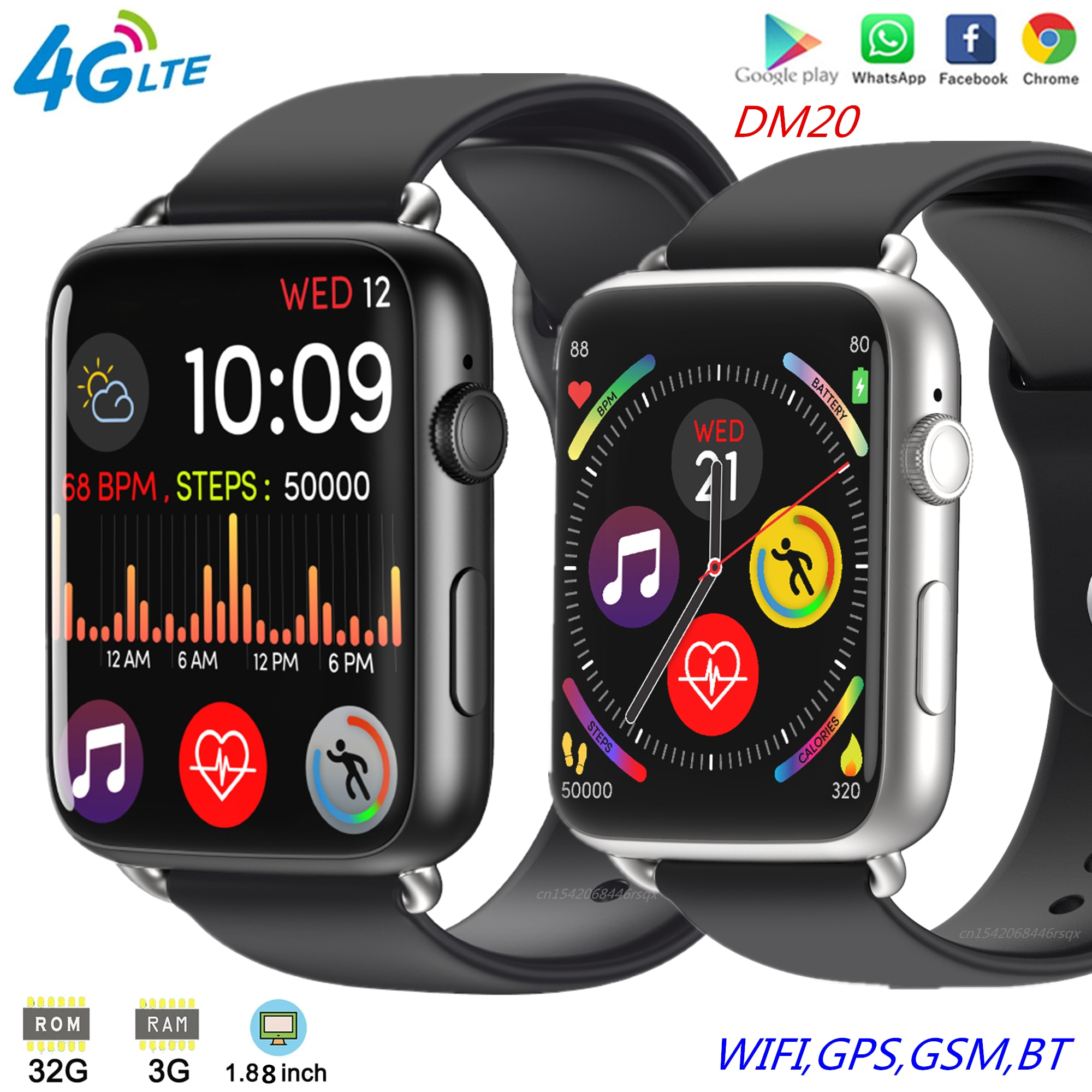 """Review DM20 Smart Watch 4G LTE Android 7.1 Smartwatch 3GB/32GB MTK6739 Quad Core Watch Phone 1.88"""" IPS WIFI GPS IP67 Waterproof Camera"""