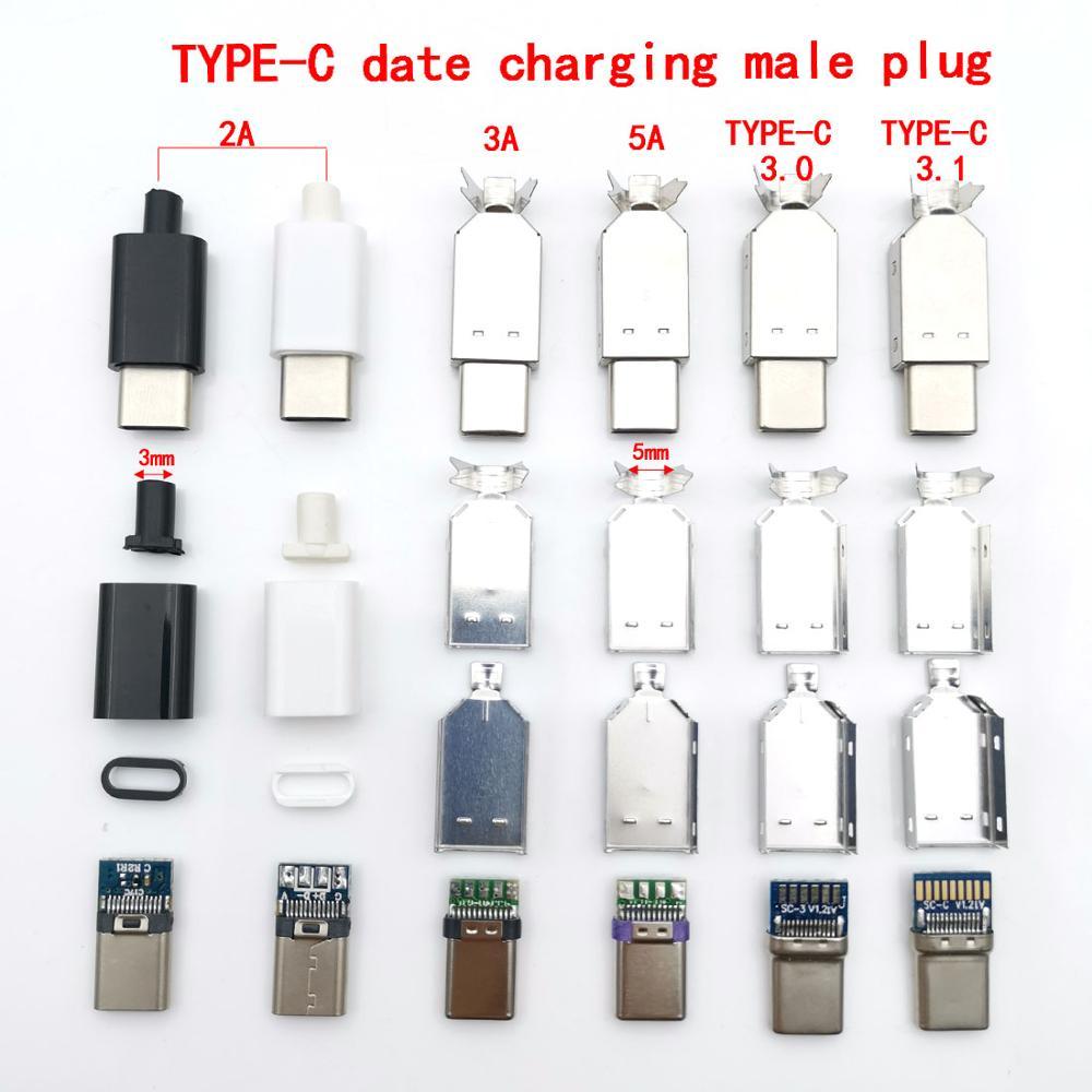 Plugue de adaptador de soldagem, 2 conjuntos de entrada usb 3.1 tipo c 2.0 macho USB-C adaptador 3/4 em 1 2a/conector de corrente grande 3a/5a com estojo