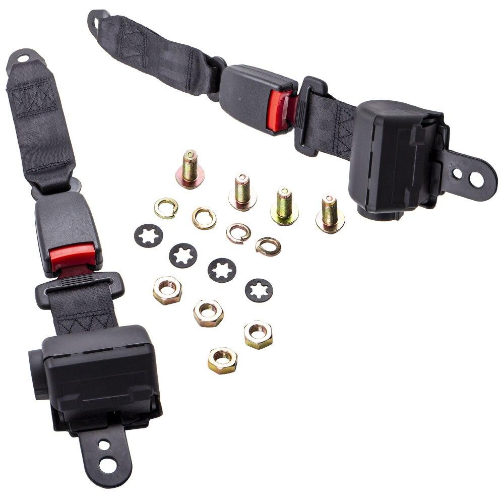 2 cinturones de seguridad retráctiles, Kit de cinturones de seguridad para EZGO para Yamaha para Club Car para carrito de Golf