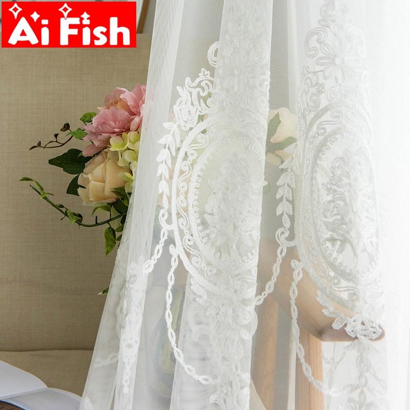 Bordado branco tule cortinas para sala de estar europeu voile sheer cortinas para o quarto janela tecidos painel M147-50