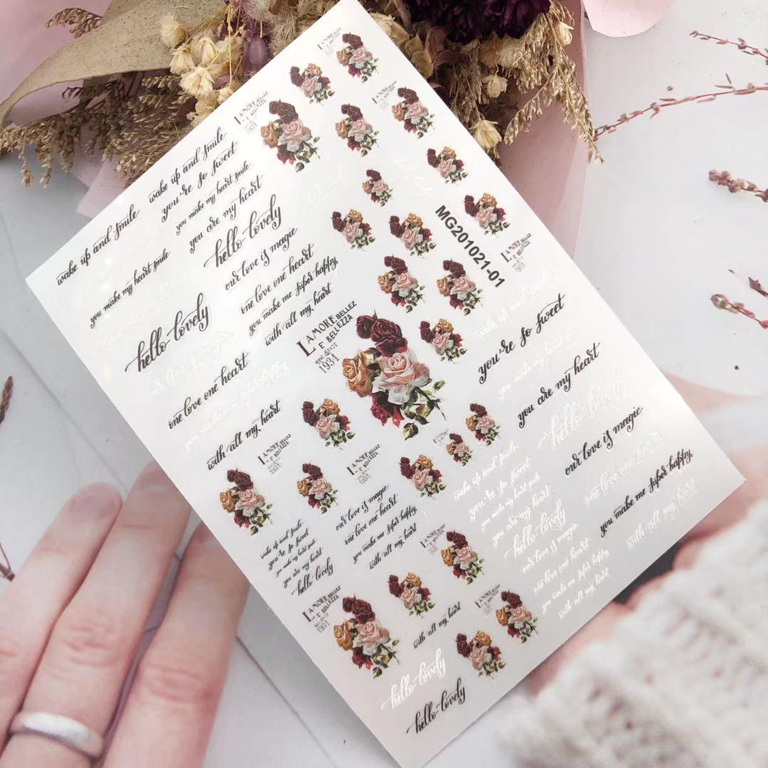 3D Nail Sticker Rose Flower Design DIY Tips Nail Art Ornament Packaging Self Adhesive Transfer Decal Slider