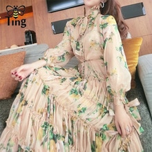 Tingfly дизайнерское подиумное длинное платье миди с цветочным принтом, с рюшами, открытые однобортные вечерние платья, женские платья в цветочек, Boho Vestidos, халаты