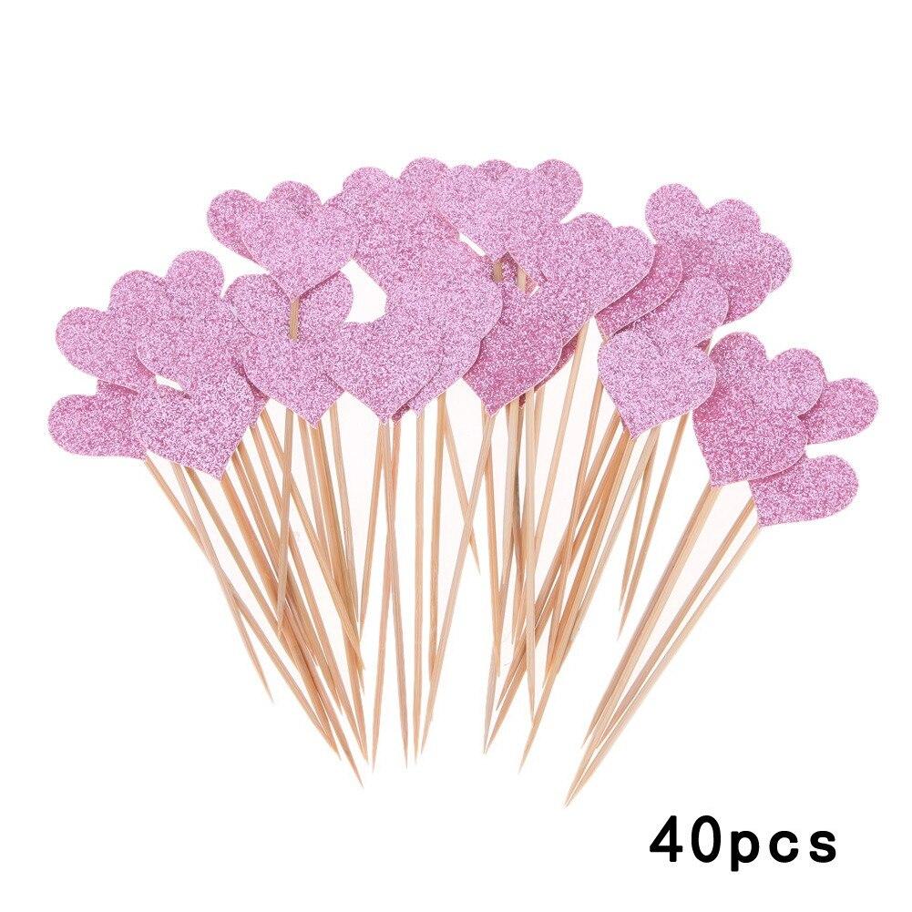 40pcs Heart Shape Cake Decoration Wedding Dessert Table Decoration Inserted Card Decoration