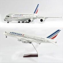 Jason Tutu 1/160 Schaal 46Cm Air France Airbus A380 Vliegtuig Model Vliegtuig Model Vliegtuigen Met Licht & Wiel Diecast plastic Hars