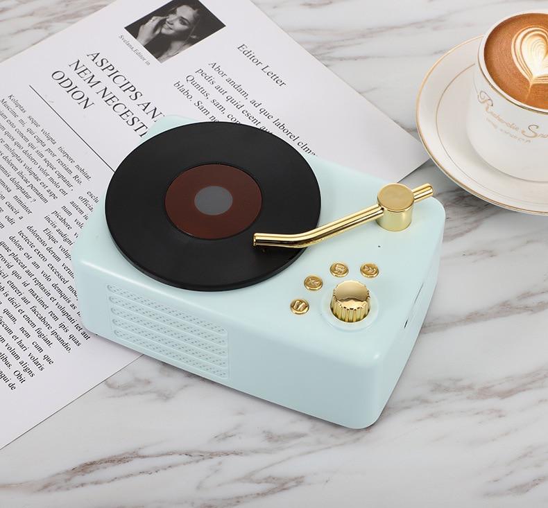 Retro bluetooth speaker T12 vinyl record player FM card multi-function wood grain audio enlarge