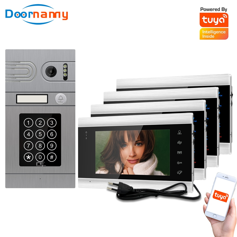 Doornanny 1 To 4 Doorbell Home Intercom Wireless WiFi Intercom Video Phone Doorman SmartLife Tuya 960P AHD Password Card Access