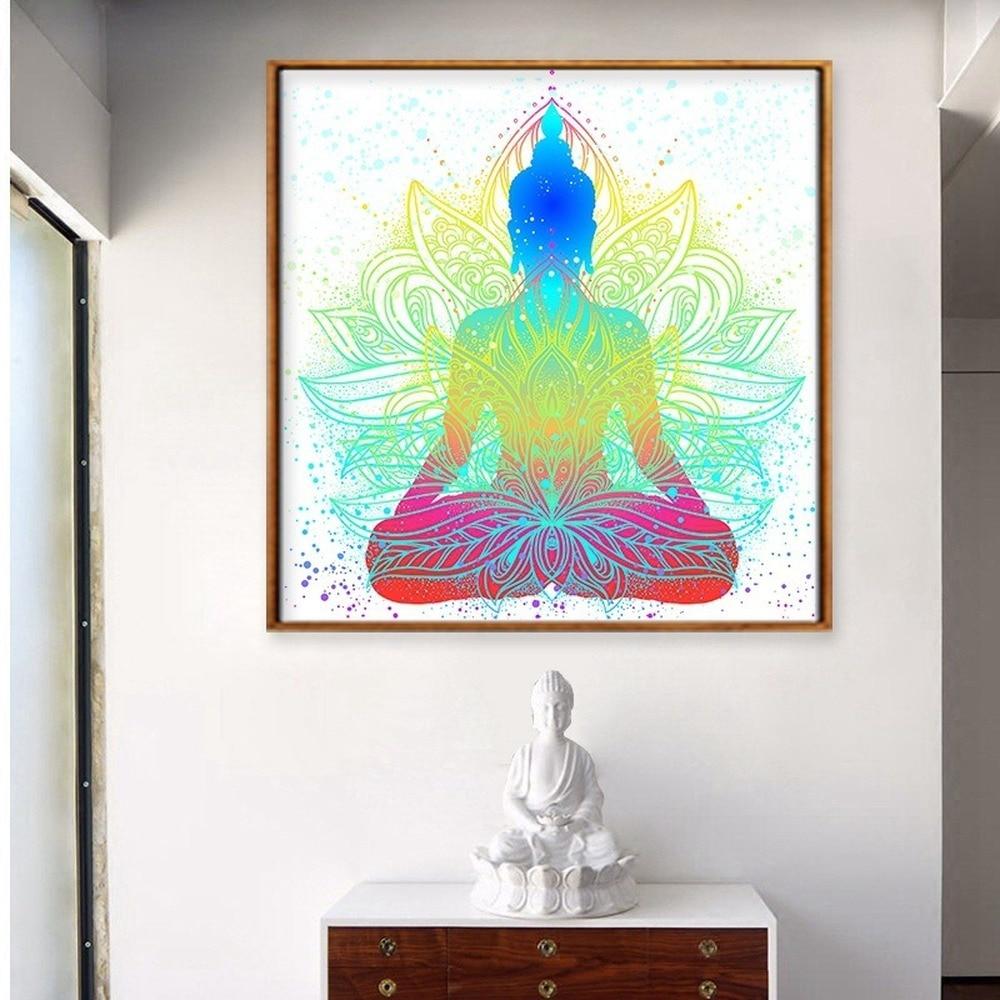Абстрактный цвет статуя Будды лотоса Холст Картина дзен буддийский плакат для медитации гостиной крыльцо настенные художественные фотографии домашний декор|Рисование и каллиграфия| | АлиЭкспресс