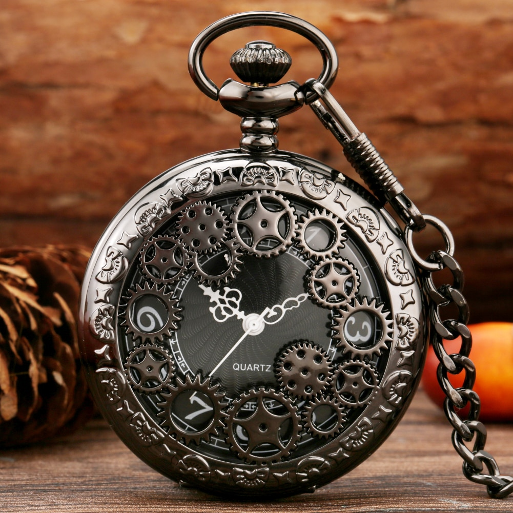 Vintage Fashion Steampunk Black/silver/gold Hollow Gear Quartz Pocket Watch Casual Pendant Clock Fob Chain Unisex Christmas Gift fob chain pendant antique style yellow gold glossy smooth case steampunk gift fashion full hunter quartz pocket watch men women