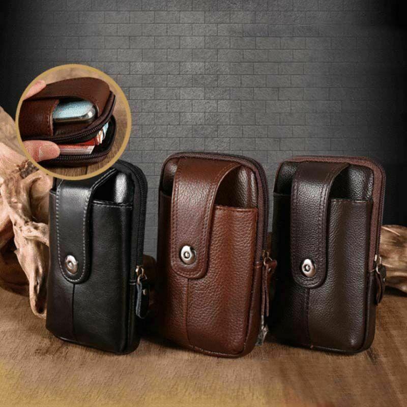 2021 Cowhide Belt Bag Men Wear Belt Vertical Hanging Waist Wallet Outdoor Sports Mobile Phone Bag Co