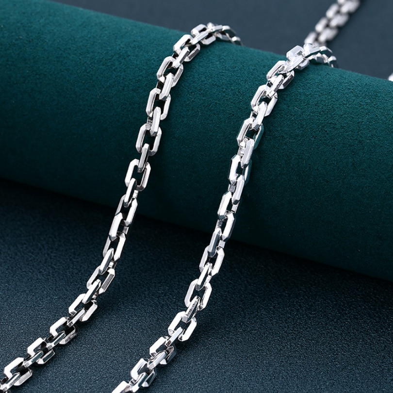 Real SIlver 6mm Fashion Horn Chain Necklace Man Male S925 Sterling Silver Personality Smooth Bright Square O Chain Jewelry