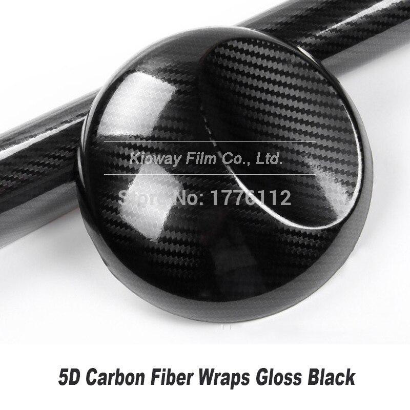 Alta brilhante preto fibra de carbono vinil 5d fibra de carbono envoltório 5d filme de fibra de carbono para interior decorar 5m/10m/18m