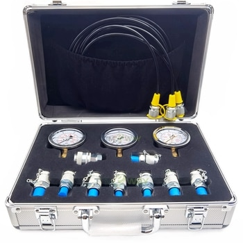 Pressure test kit components are used to test pressure values
