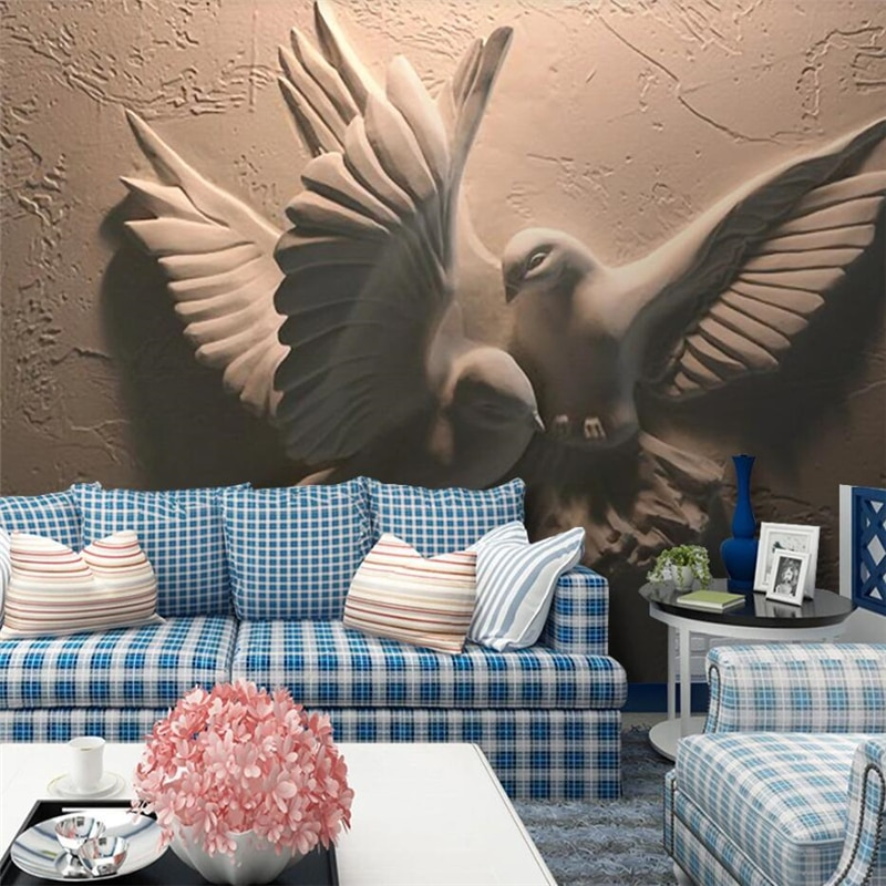 beibehang large mural custom wallpaper company wallpaper sofa hotel tv wall background 3d wall murals wallpaper papel de parede Custom wallpaper 3D stereo photo murals embossed flying pigeon papel de parede TV background wall painting mural 3d wallpaper