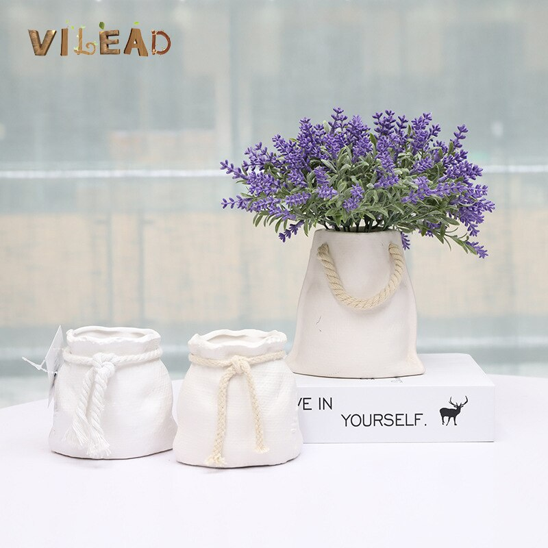 VILEAD 6 Styles Ceramic Flower Pot Sack Woven Bag Tote Bag Fashion Creative Succulent Decorative Vase Home Decor Gardening Pots
