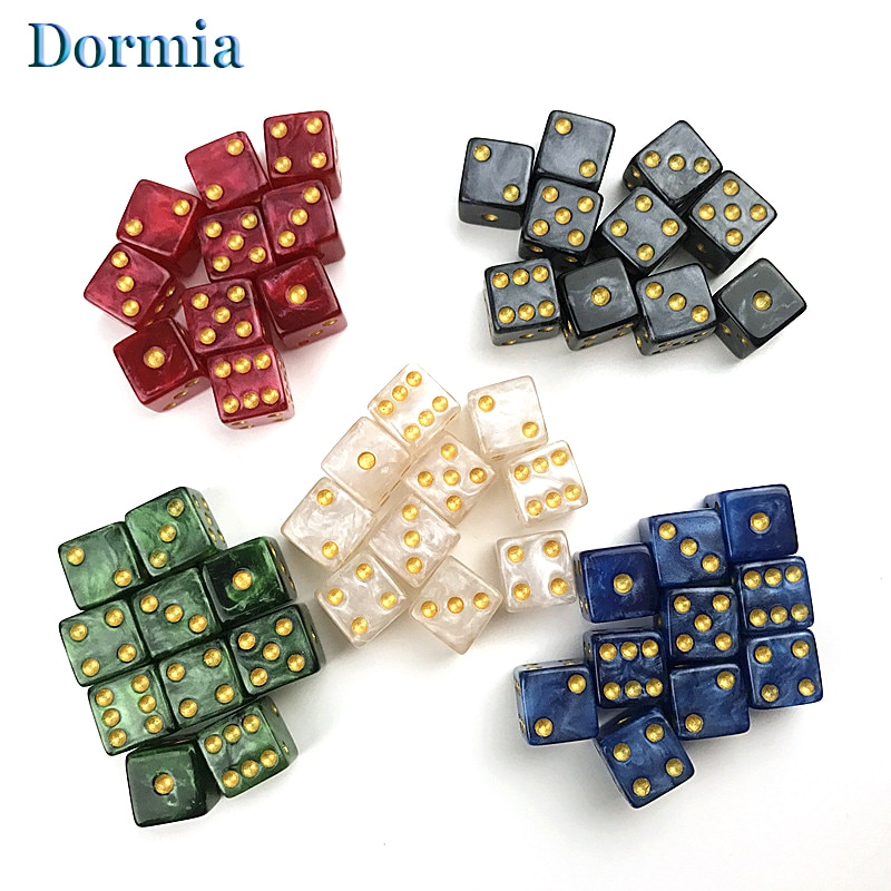 Alta Qualidade 10 Pçs/set Efeito de Mármore Mini 12mm Dados, para Beber Jogo Mesa de Poker do Casino e Outros Jogos de Tabuleiro