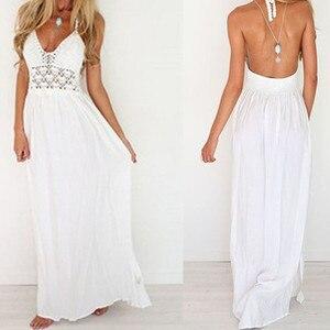 dress women summer maxi dresses for women bandage long white dress chiffon backless dress party sundress boho maxi beach Dresses