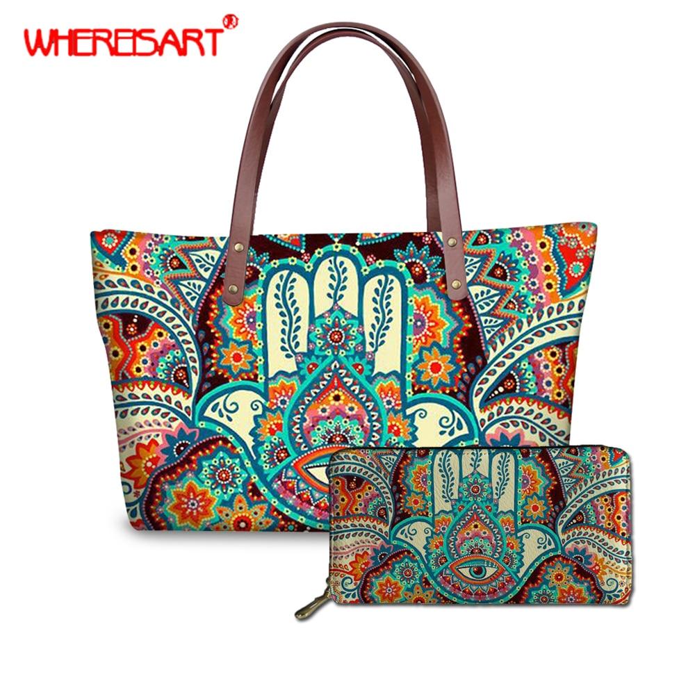 WHEREISART, bolsos de pulsera de mano de Fátima para mujer, bolsos de mano informales con asa, bolsos de hombro Retro, bolso de mensajero grande para Cartera de mujer