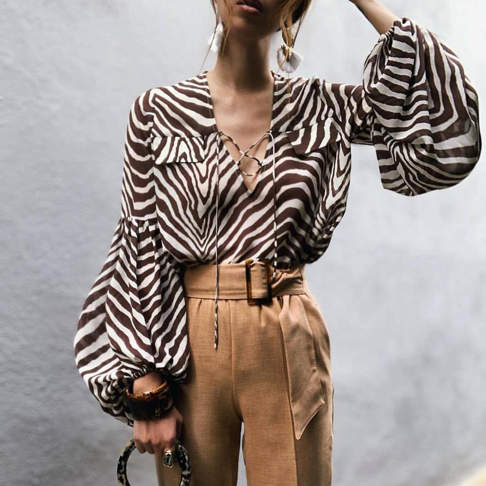 Blusa tipo camisa para mujer, manga farol, escote en V profundo, cintas estampadas, Blusa de manga larga, Chemisier Femme #2O17