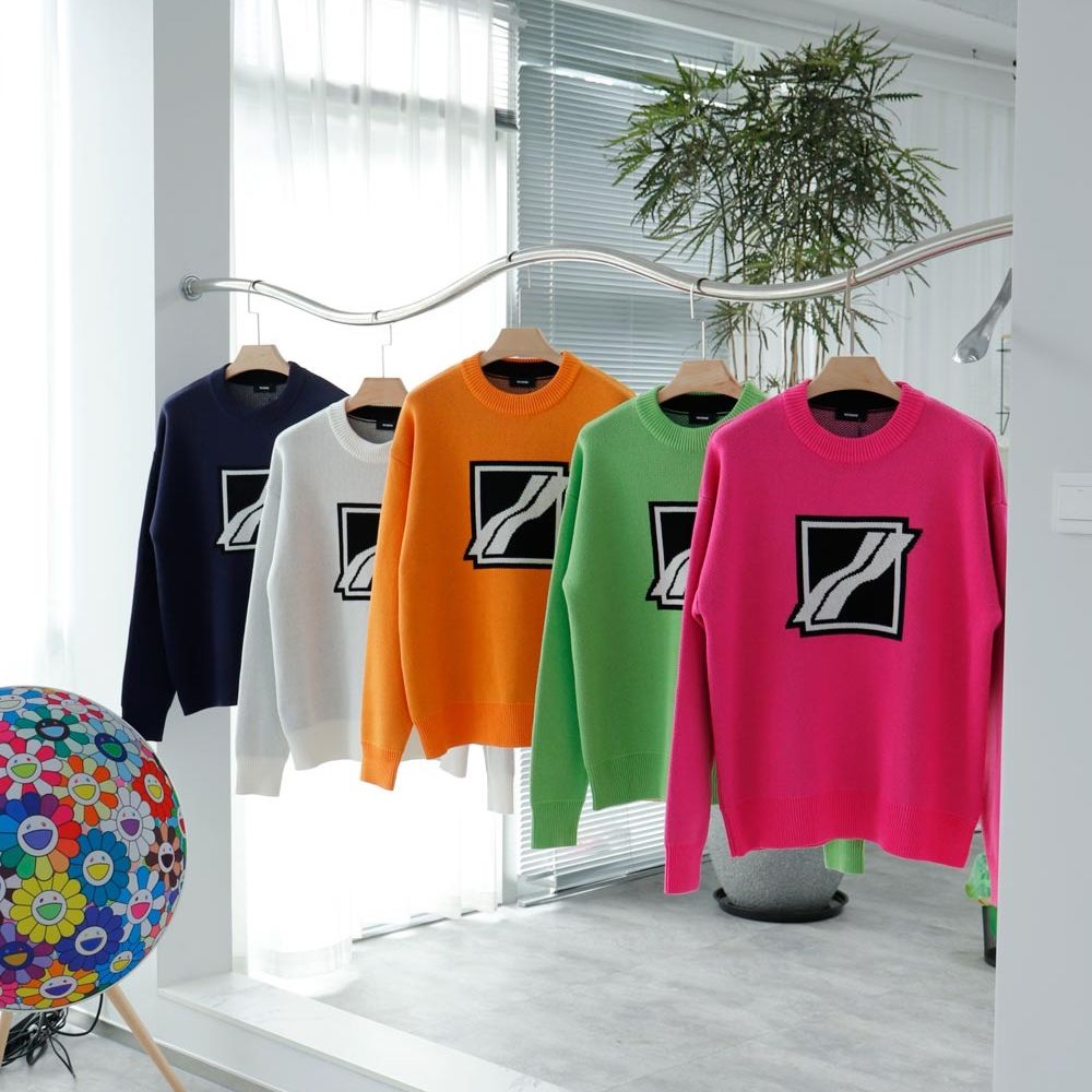 Men Women We11done Knitted Sweater Oversize Vintage Round Neck Jacquard Logo Sweater Welldone Fashion Pullover