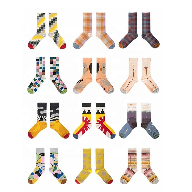 Новый дизайн, носки, стильные цветные Смешные Мультяшные хлопковые спортивные носки унисекс