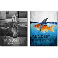 Mindset-это все постер с животным принтом кота на холсте, картина для дома, гостиной, настенная живопись, офисное украшение