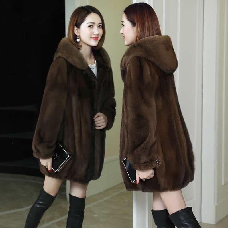 Женская куртка из искусственного меха, пальто из искусственного меха, Женское пальто с капюшоном, свободное Женское пальто