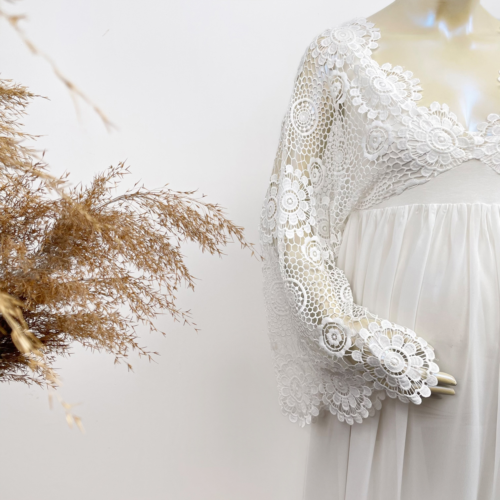 Photo Shoot Chiffon Robe Long Sleeves Embroidery Maternity Dresses Evening Party White Costume for Women Photography Accessories enlarge