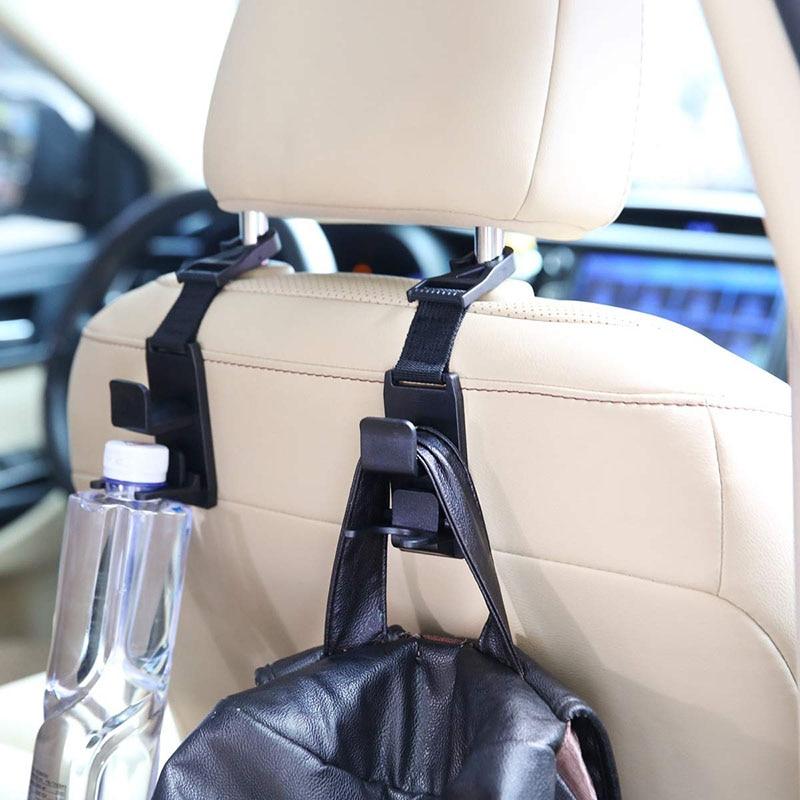 Ganchos de respaldo de asiento de coche multifunción Suspensión de respaldo del asiento para bolso de compras Clips portátiles de tela