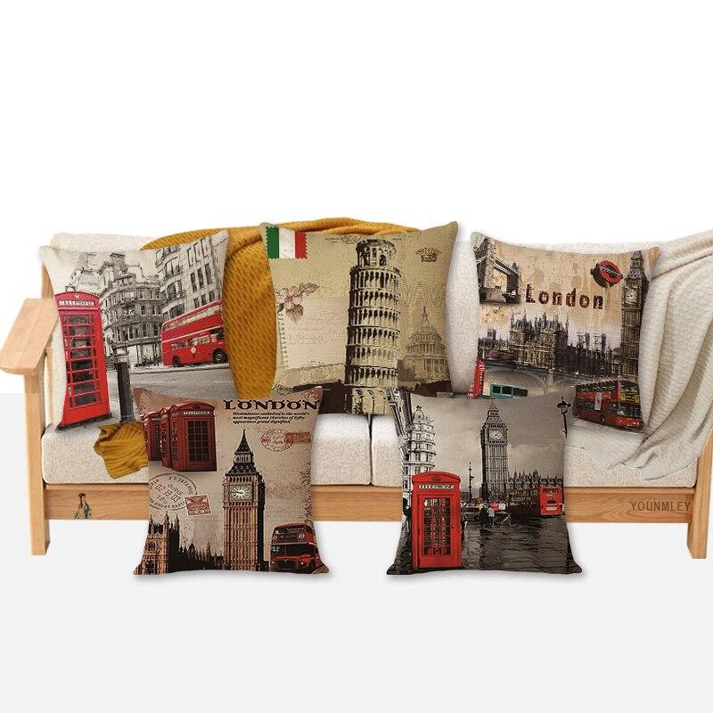 ¡Novedad! Cojines baratos con estampado londinense, cojín decorativo para el hogar, cojín de 18 pulgadas Vintage de algodón y lino, almohadas cuadradas, MYJ-A2