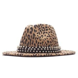 Fashion New Leopard Print Fedora Wool Hat Ladies Wide Brim With Pearl Ribbon Jazz Hat Men Panama Retro Trilby Hat