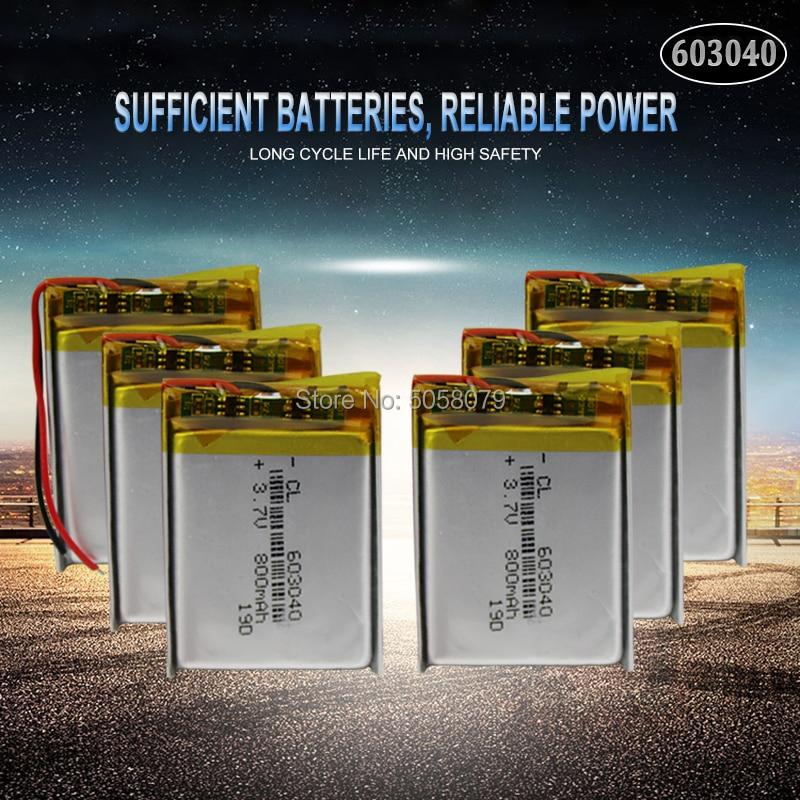 10 Uds 603040 Li Ion Polymer 800mah 3,7 V batería recargable 800mah Lipo baterías de litio con protección de Pcb