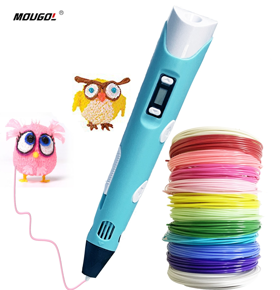 3d-ручка для печати и рисования, устройство для 3d-печати с OLED-дисплеем, 12 цветов пла/АБС-пластика, принтер для детей/взрослых, креативный дизай...