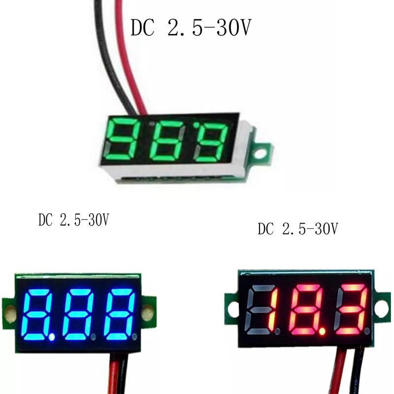 "0,28 ""DC 0-100V LED voltímetro Digital voltímetro Auto motocicleta Detector de prueba de voltaje DC 0-100 Monitor de capacidad rojo verde"