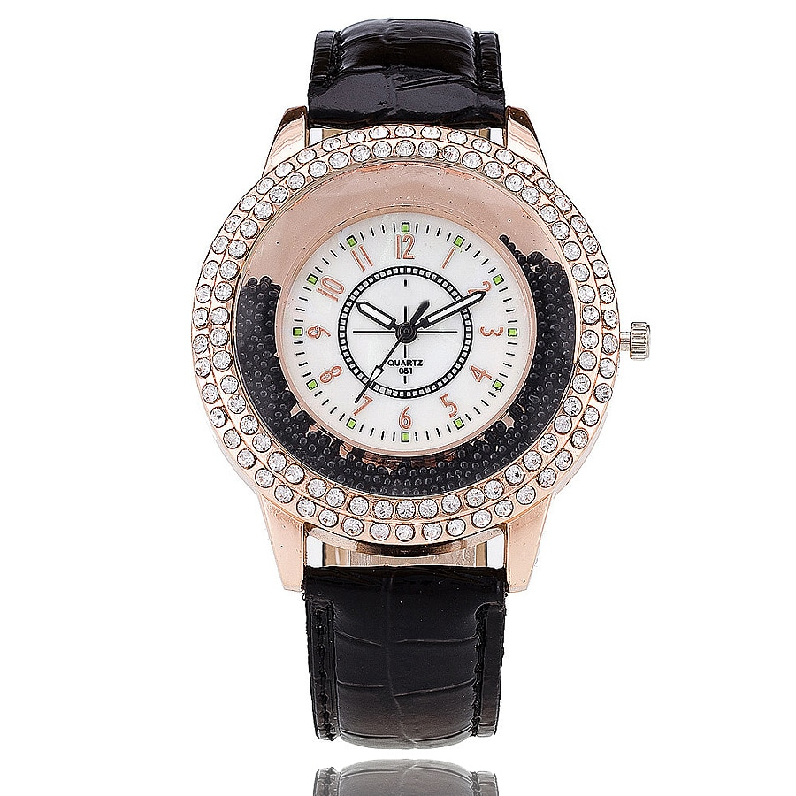 2019 New Fashion Women Rhinestone Watch Leather Strap Quartz Watch Reloj Mujer Hot Women Dress Watch