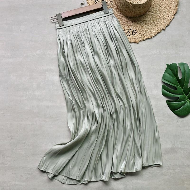 Spring Summer New Skirt Woman 2020 Korean Style Shiny Satin Elastic High Waist Solid Midi Pleated A Line Skirt