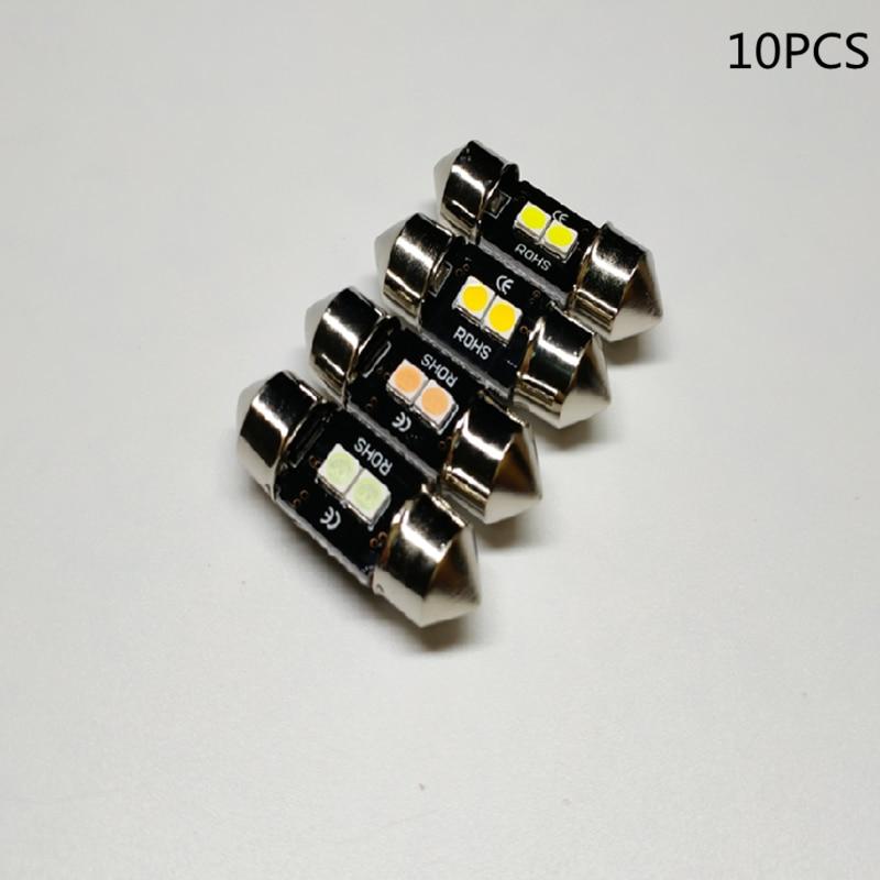 10 шт. 28 мм Светодиодная Лампочка для гирлянд лед лампы DE3021 Автомобильная Внутренняя купольная карта солнцезащитный козырек косметическое з...