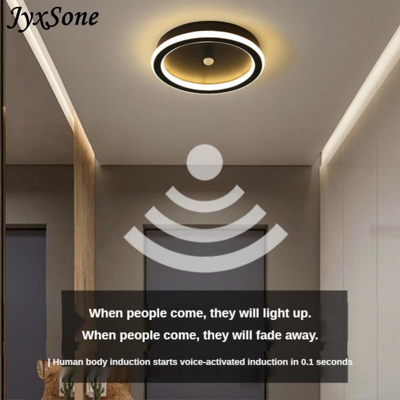 Современная Скандинавская Светодиодная потолочная лампа с датчиком движения светильник освещение для коридора, освесветильник для прихож...