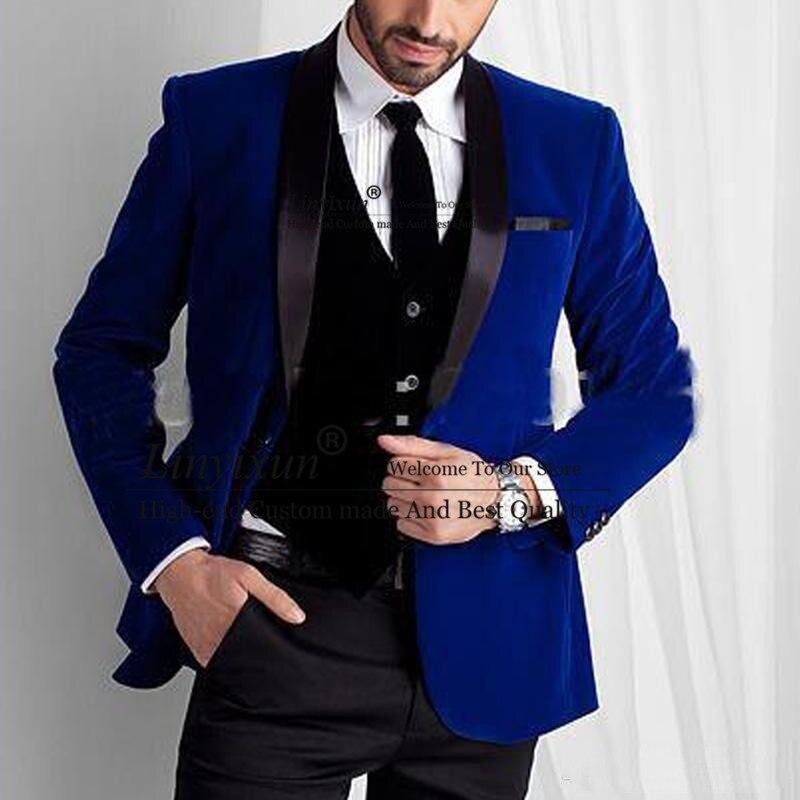 بدلة زفاف مخملية زرقاء ملكية للرجال ، ثلاث قطع ، شال ، طية صدر السترة ، تقليم مناسب للعريس ، سهرة ، عشاء ، سترة ، بنطلون أسود