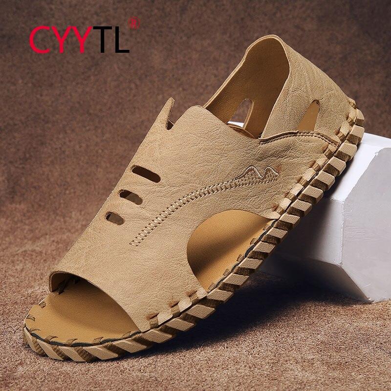 CYYTL Men Sport Sandals Open Toe Leather Beach Slippers for Outdoor Slip on Breathable Summer Fisherman Shoes Heren Schoenen