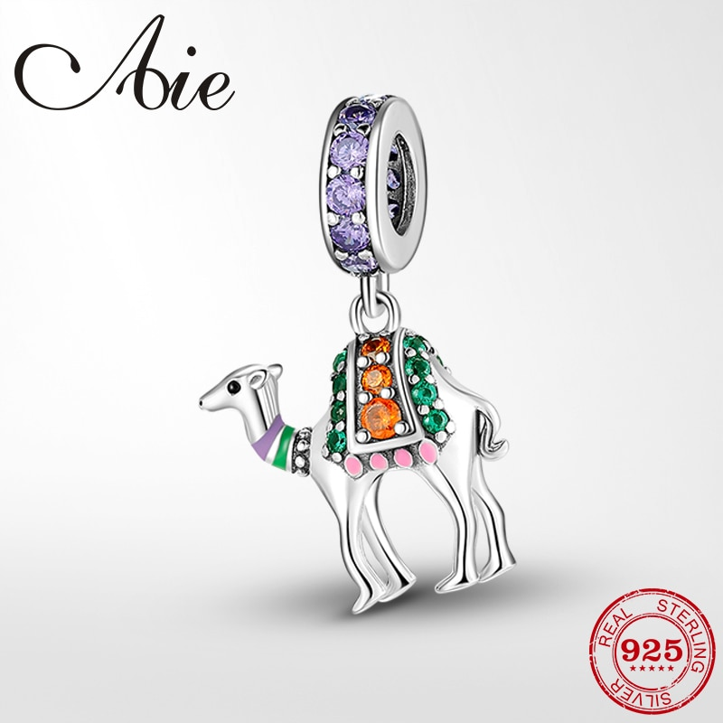 ¡Novedad de 925! hermosos pendientes de camello de plata esterlina para el desierto, joyería que se ajusta a pulseras Pandora para mujer