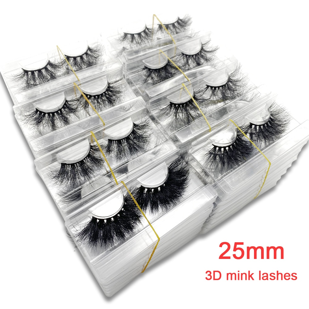 25mm 3d False Lashes in Bulk Real Mink Fur Cruelty Free Wholesale Natural Soft Cosmetics Eyeashes Fl