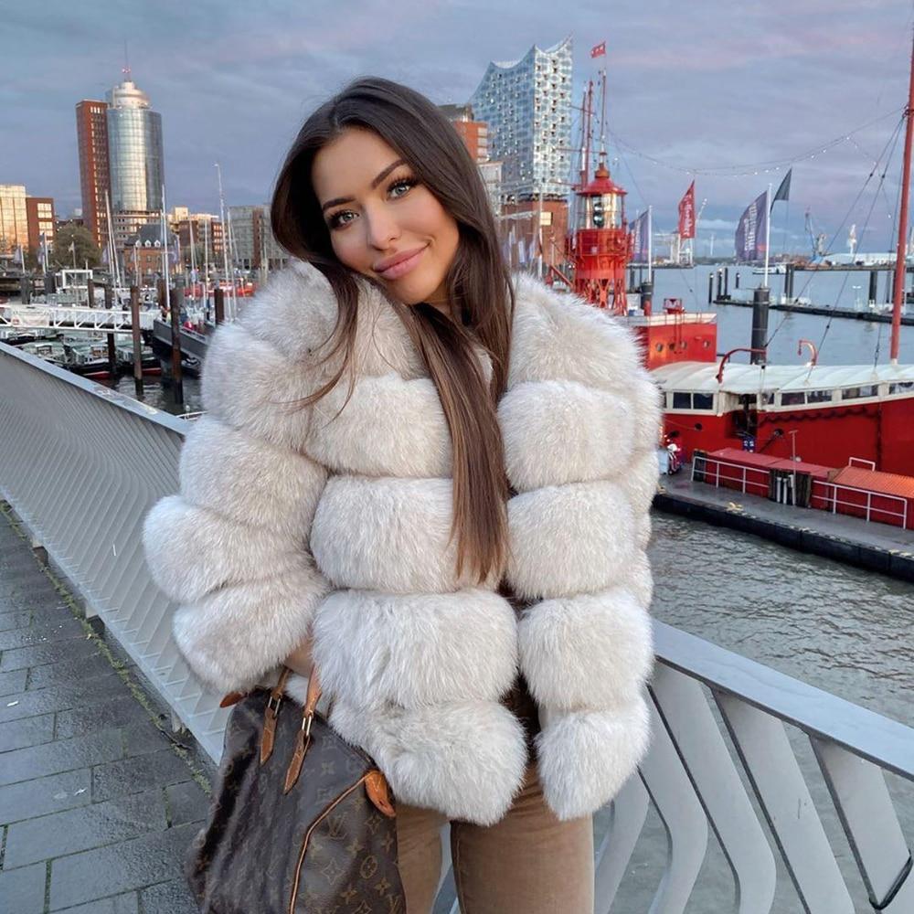 Fashion winter warm women coat natural fox fur coat real fox fur jacket winter thick warm jackets vest custom made xxxxxl