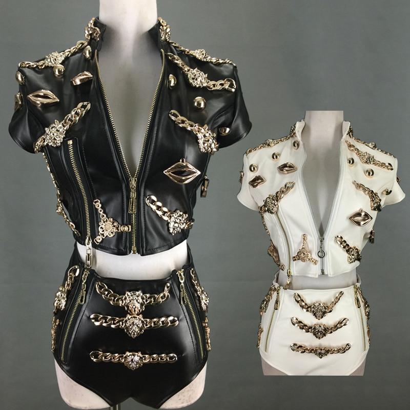 جديد القطب الرقص الملابس للنساء ملهى ليلي الإناث المغني الجاز الرقص زعيم الاستبداد الهذيان الزي أبيض/أسود 2 قطعة DQL4236