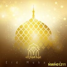 Laeacco EID Mubarak Gold Church Moon Star Religious Festivals Pattern Photo Backdrops Photographic Backgrounds For Photo Studio